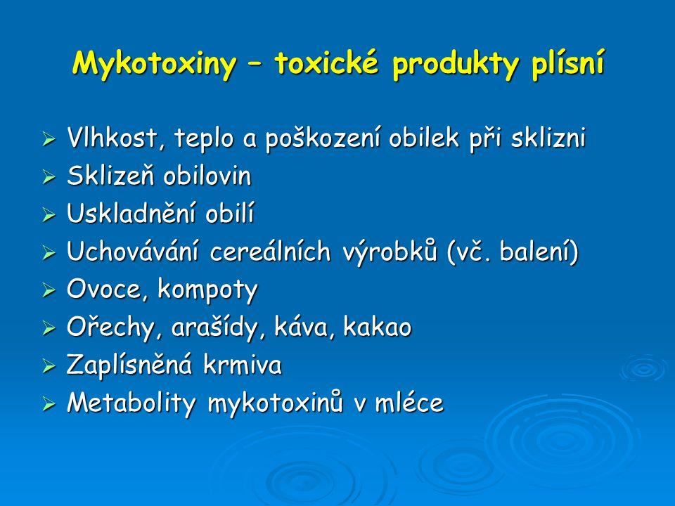 Mykotoxiny – toxické produkty plísní  Vlhkost, teplo a poškození obilek při sklizni  Sklizeň obilovin  Uskladnění obilí  Uchovávání cereálních výr