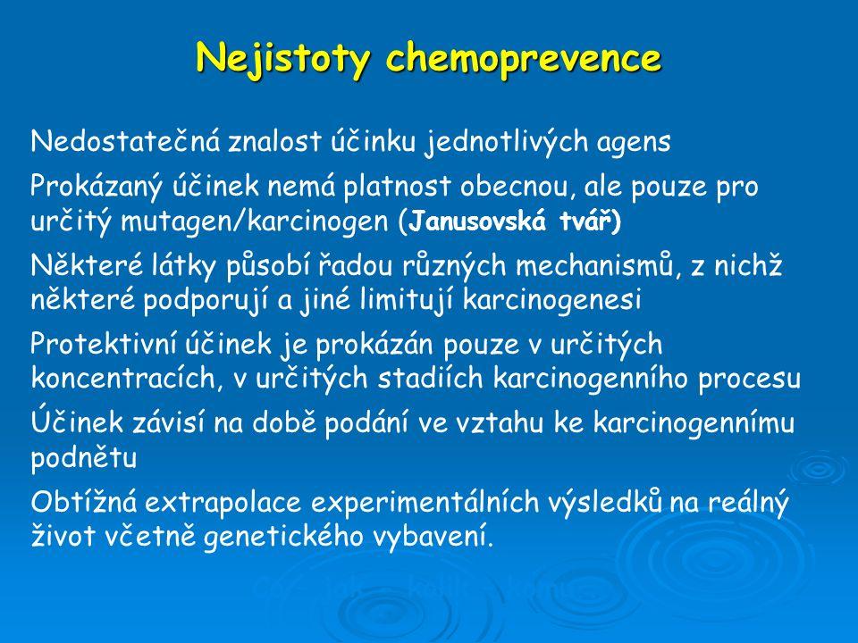 Nejistoty chemoprevence Nedostatečná znalost účinku jednotlivých agens Prokázaný účinek nemá platnost obecnou, ale pouze pro určitý mutagen/karcinogen
