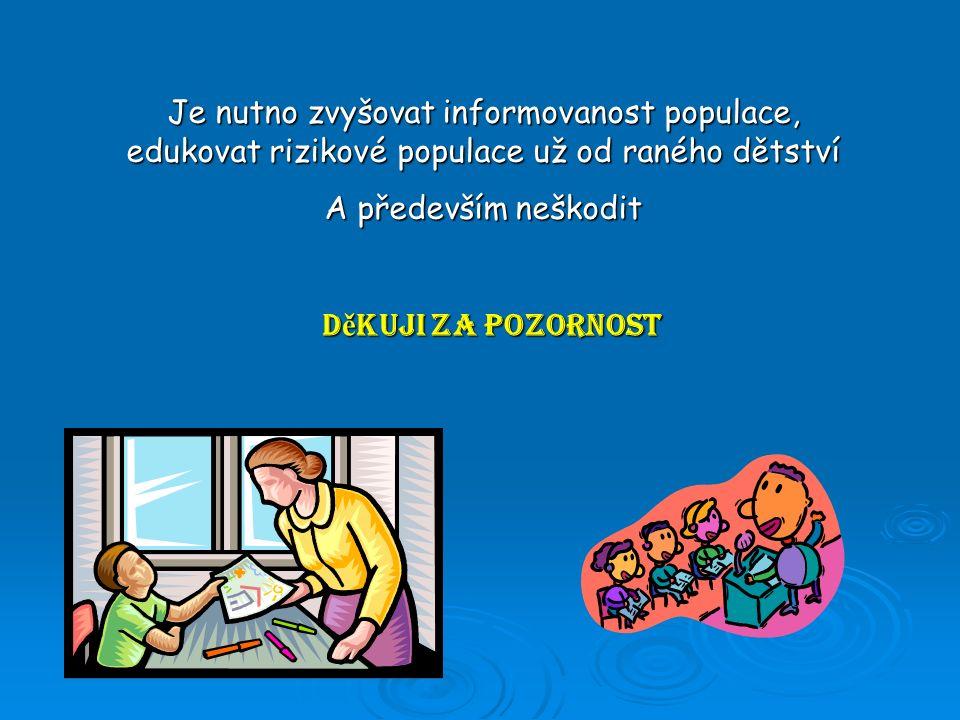 D ě kuji za pozornost Je nutno zvyšovat informovanost populace, edukovat rizikové populace už od raného dětství A především neškodit