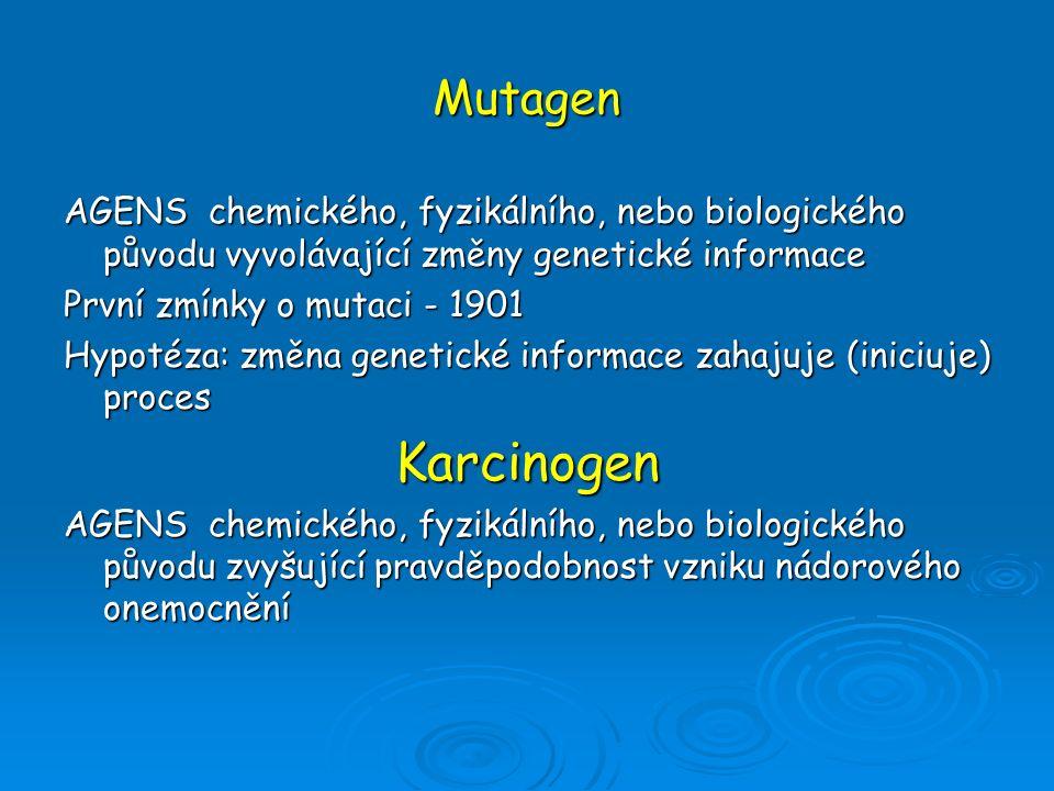 Mutagen AGENS chemického, fyzikálního, nebo biologického původu vyvolávající změny genetické informace První zmínky o mutaci - 1901 Hypotéza: změna ge