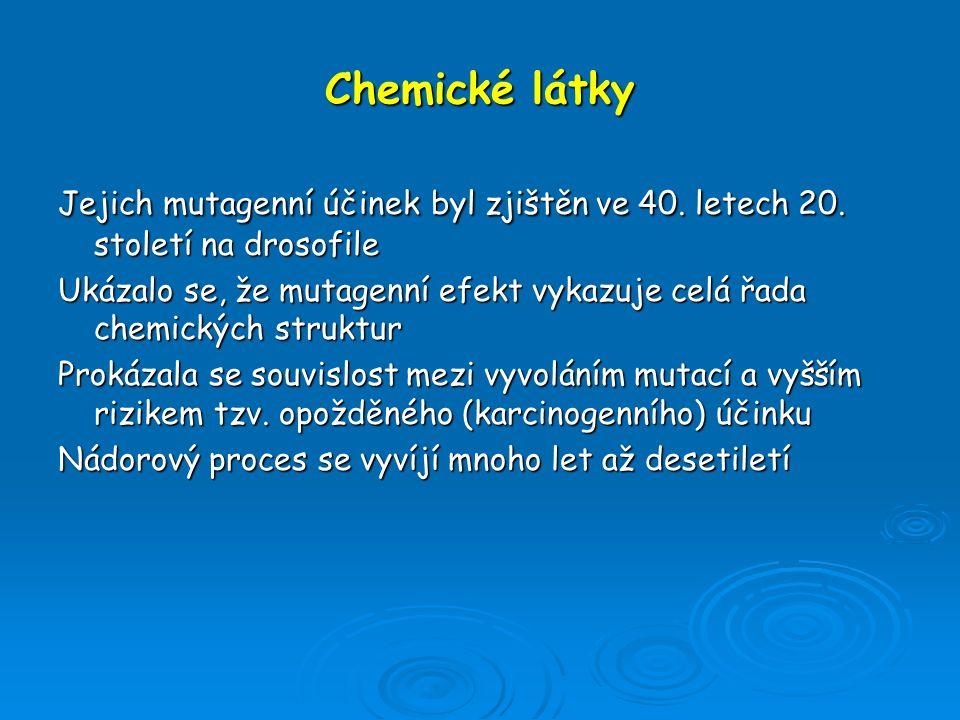 Chemické látky Jejich mutagenní účinek byl zjištěn ve 40. letech 20. století na drosofile Ukázalo se, že mutagenní efekt vykazuje celá řada chemických