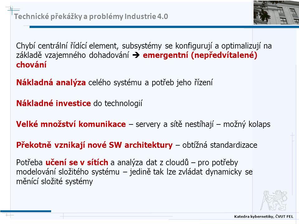 Katedra kybernetiky, ČVUT FEL Technické překážky a problémy Industrie 4.0 Chybí centrální řídící element, subsystémy se konfigurují a optimalizují na