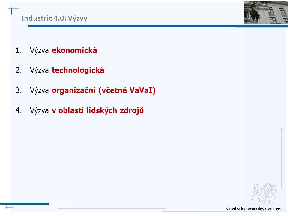 Katedra kybernetiky, ČVUT FEL Industrie 4.0: Výzvy 1.Výzva ekonomická 2.Výzva technologická 3.Výzva organizační (včetně VaVaI) 4.Výzva v oblasti lidsk