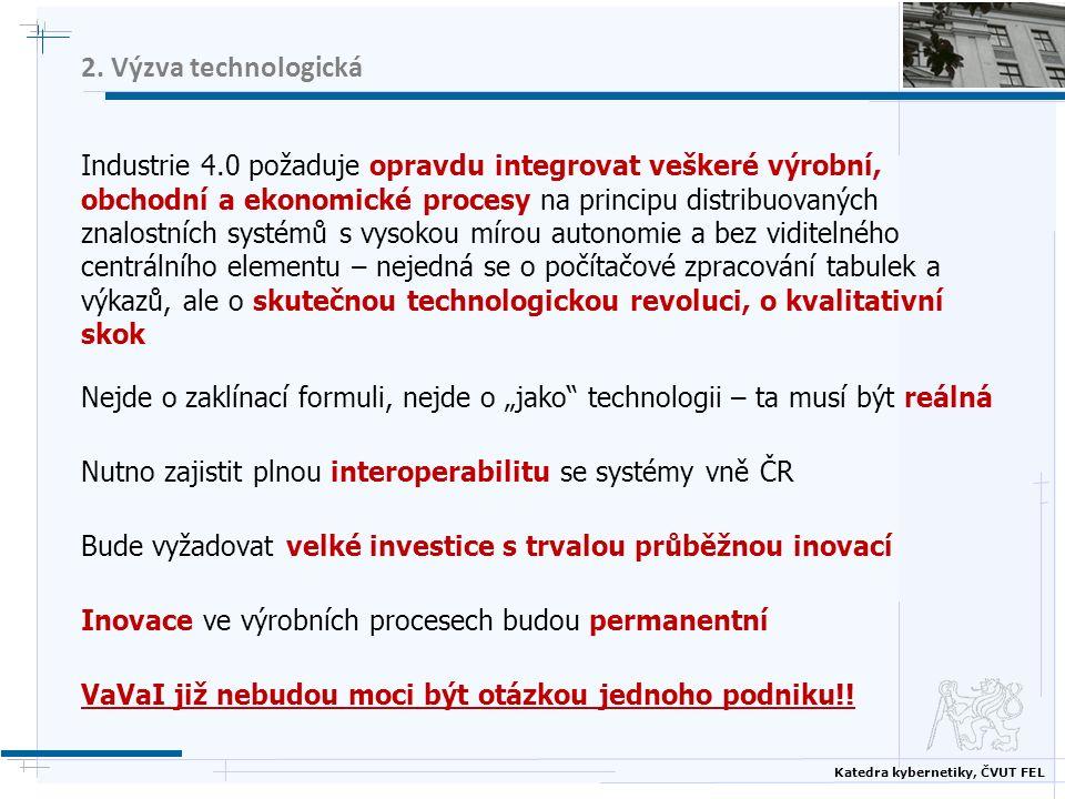 Katedra kybernetiky, ČVUT FEL 2. Výzva technologická Industrie 4.0 požaduje opravdu integrovat veškeré výrobní, obchodní a ekonomické procesy na princ