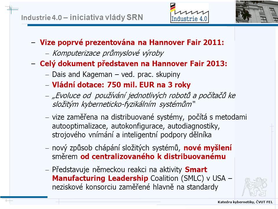 Katedra kybernetiky, ČVUT FEL Industrie 4.0 – iniciativa vlády SRN –Vize poprvé prezentována na Hannover Fair 2011:  Komputerizace průmyslové výroby