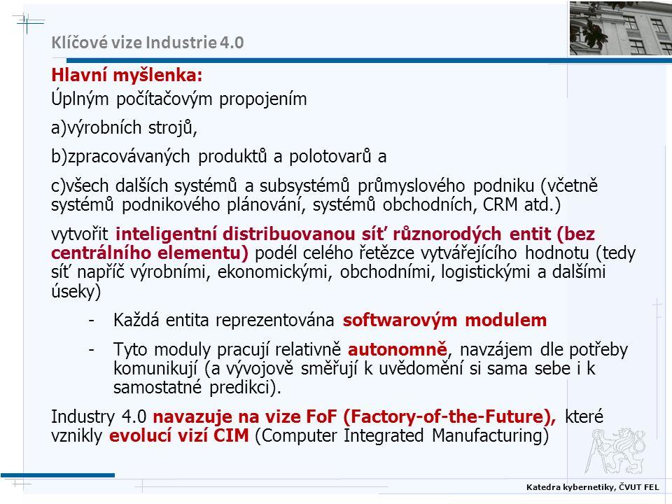 Katedra kybernetiky, ČVUT FEL Klíčové vize Industrie 4.0 Hlavní myšlenka: Úplným počítačovým propojením a)výrobních strojů, b)zpracovávaných produktů