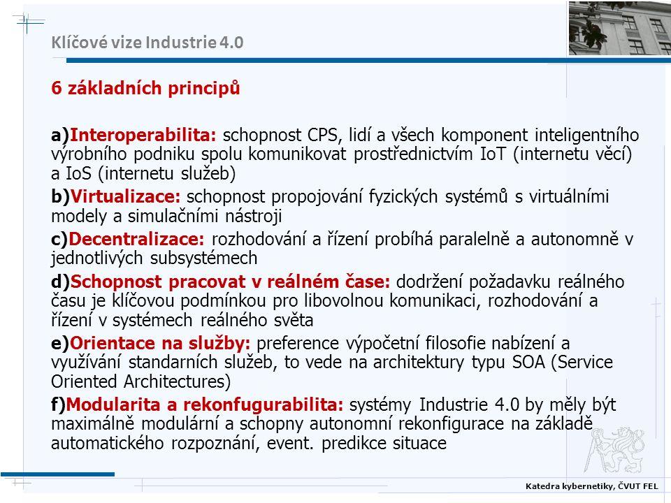 Katedra kybernetiky, ČVUT FEL Klíčové vize Industrie 4.0 6 základních principů a)Interoperabilita: schopnost CPS, lidí a všech komponent inteligentníh
