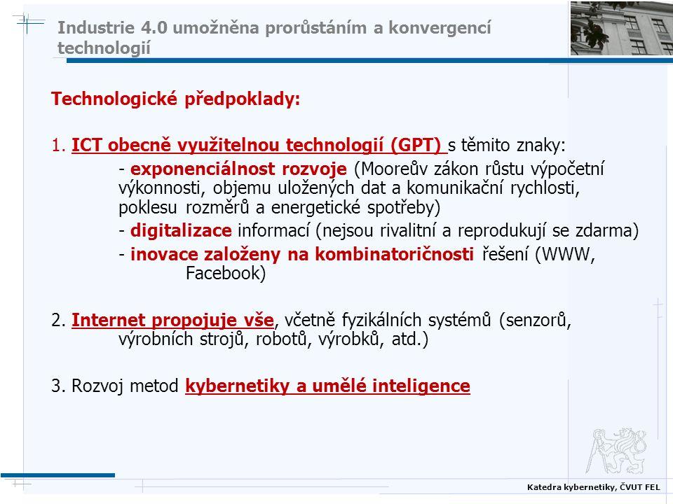 Katedra kybernetiky, ČVUT FEL Industrie 4.0 umožněna prorůstáním a konvergencí technologií Technologické předpoklady: 1. ICT obecně využitelnou techno
