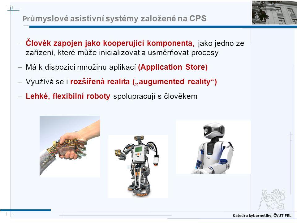 Katedra kybernetiky, ČVUT FEL Pr ůmyslové asistivní systémy založené na CPS  Člověk zapojen jako kooperující komponenta, jako jedno ze zařízení, kter