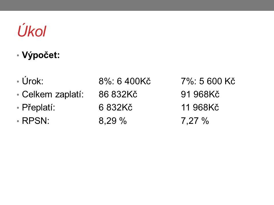 Úkol Výpočet: Úrok: 8%: 6 400Kč 7%: 5 600 Kč Celkem zaplatí: 86 832Kč 91 968Kč Přeplatí: 6 832Kč 11 968Kč RPSN: 8,29 % 7,27 %