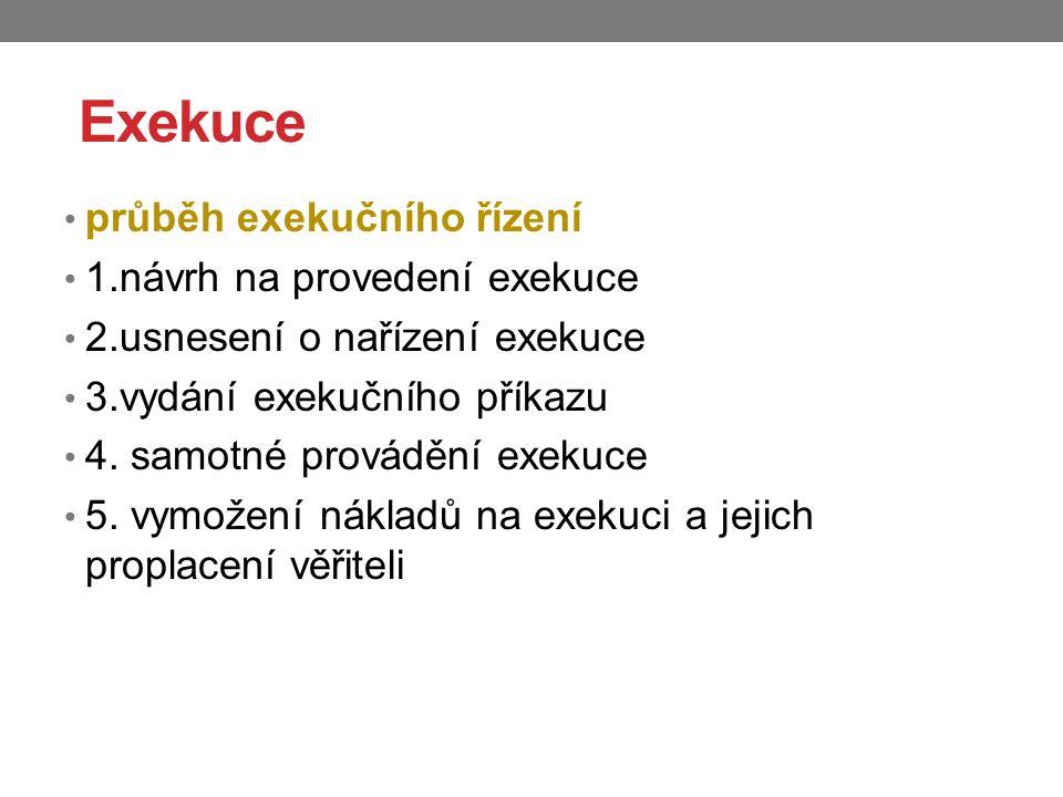 Exekuce průběh exekučního řízení 1.návrh na provedení exekuce 2.usnesení o nařízení exekuce 3.vydání exekučního příkazu 4. samotné provádění exekuce 5