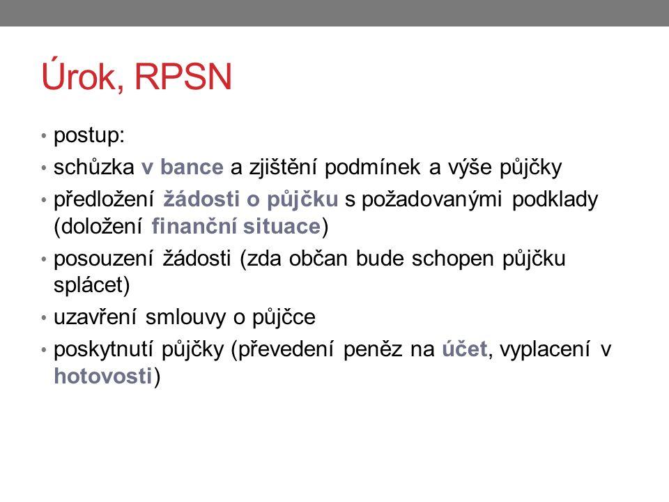 Úrok, RPSN postup: schůzka v bance a zjištění podmínek a výše půjčky předložení žádosti o půjčku s požadovanými podklady (doložení finanční situace) p