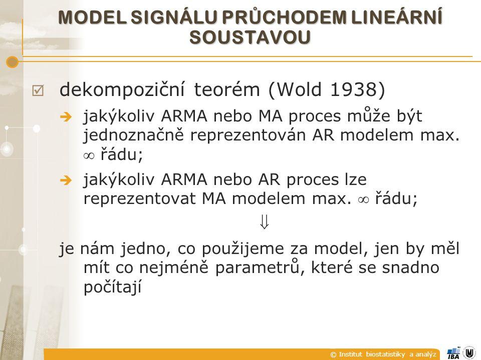 © Institut biostatistiky a analýz MODEL SIGNÁLU PR Ů CHODEM LINEÁRNÍ SOUSTAVOU  dekompoziční teorém (Wold 1938)  jakýkoliv ARMA nebo MA proces může být jednoznačně reprezentován AR modelem max.