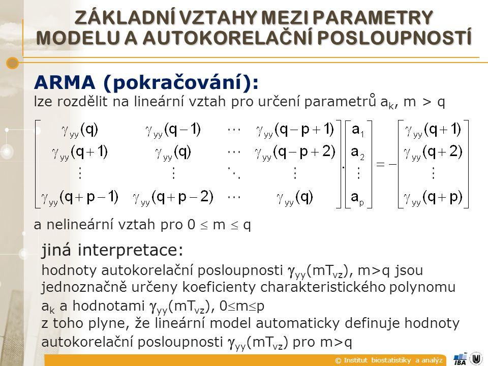 © Institut biostatistiky a analýz ZÁKLADNÍ VZTAHY MEZI PARAMETRY MODELU A AUTOKORELA Č NÍ POSLOUPNOSTÍ ARMA (pokračování): lze rozdělit na lineární vztah pro určení parametrů a k, m > q a nelineární vztah pro 0  m  q jiná interpretace: hodnoty autokorelační posloupnosti  yy (mT vz ), m>q jsou jednoznačně určeny koeficienty charakteristického polynomu a k a hodnotami  yy (mT vz ), 0mp z toho plyne, že lineární model automaticky definuje hodnoty autokorelační posloupnosti  yy (mT vz ) pro m>q