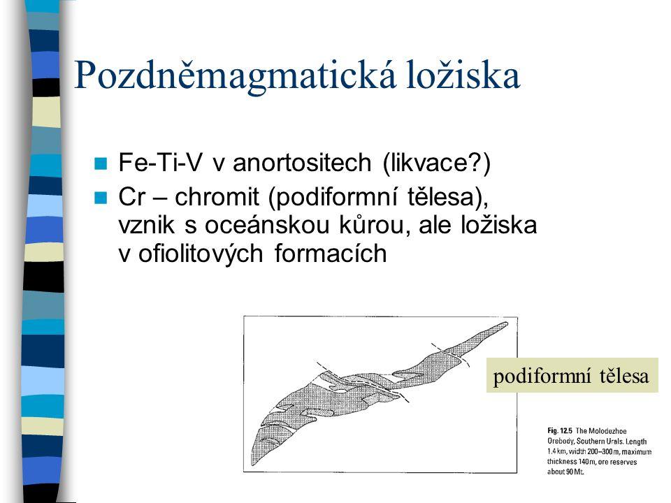 Pozdněmagmatická ložiska Fe-Ti-V v anortositech (likvace?) Cr – chromit (podiformní tělesa), vznik s oceánskou kůrou, ale ložiska v ofiolitových forma