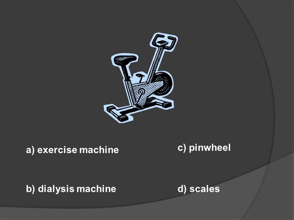a) ECG b) pediatric spoon d) centrifuge c) dialysis machine