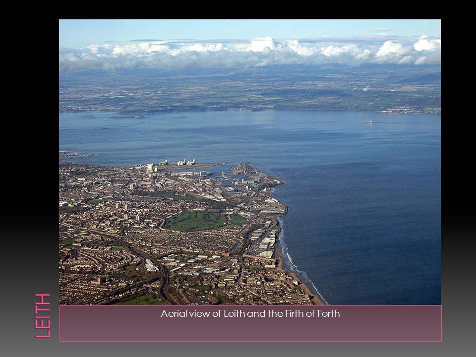 Aerial view of Leith and the Firth of Forth