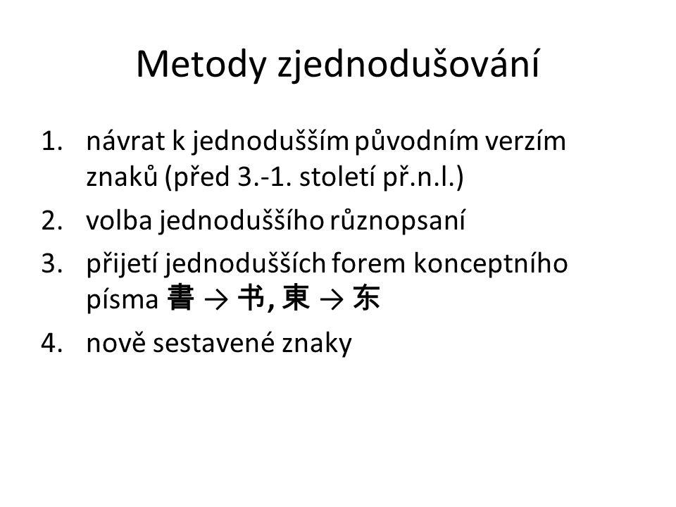 Metody zjednodušování 1.návrat k jednodušším původním verzím znaků (před 3.-1. století př.n.l.) 2.volba jednoduššího různopsaní 3.přijetí jednodušších