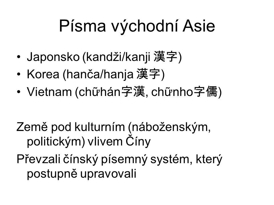 Písma východní Asie Japonsko (kandži/kanji 漢字 ) Korea (hanča/hanja 漢字 ) Vietnam (chữhán 字漢, chữnho 字儒 ) Země pod kulturním (náboženským, politickým) v