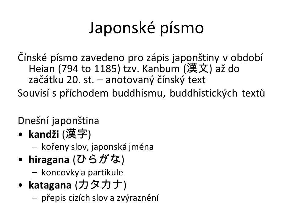 Japonské písmo Čínské písmo zavedeno pro zápis japonštiny v období Heian (794 to 1185) tzv. Kanbum ( 漢文 ) až do začátku 20. st. – anotovaný čínský tex