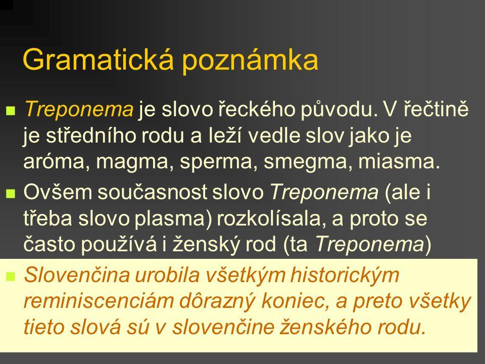 Gramatická poznámka Treponema je slovo řeckého původu. V řečtině je středního rodu a leží vedle slov jako je aróma, magma, sperma, smegma, miasma. Ovš