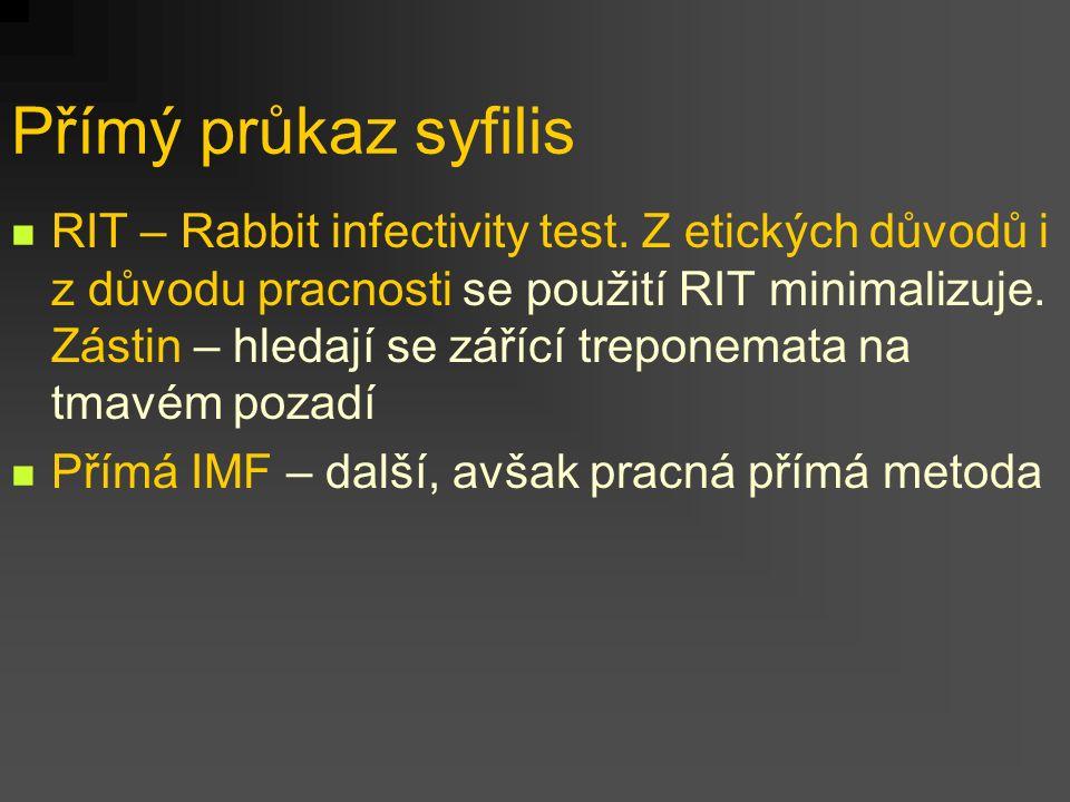 Přímý průkaz syfilis RIT – Rabbit infectivity test. Z etických důvodů i z důvodu pracnosti se použití RIT minimalizuje. Zástin – hledají se zářící tre