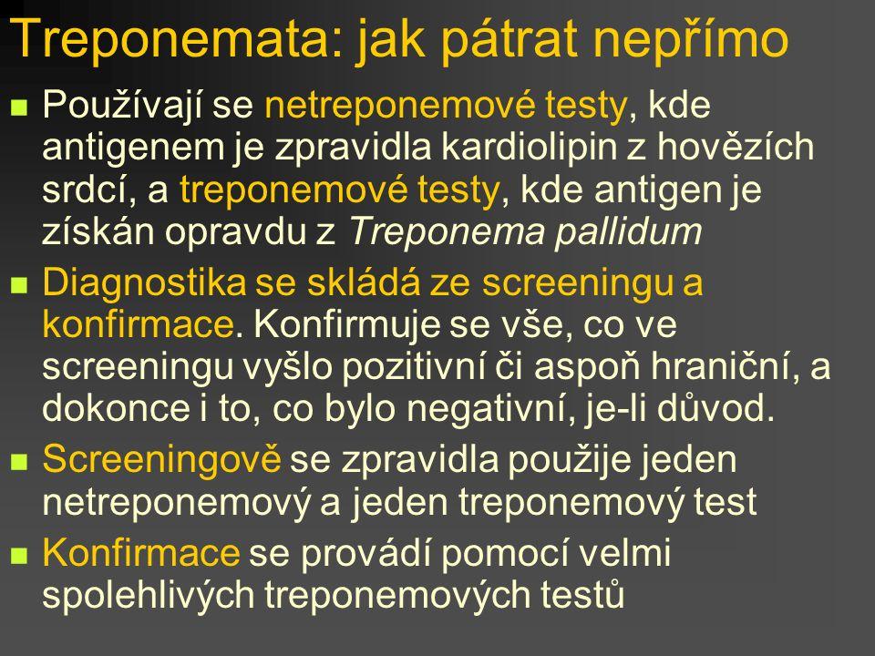 Treponemata: jak pátrat nepřímo Používají se netreponemové testy, kde antigenem je zpravidla kardiolipin z hovězích srdcí, a treponemové testy, kde antigen je získán opravdu z Treponema pallidum Diagnostika se skládá ze screeningu a konfirmace.