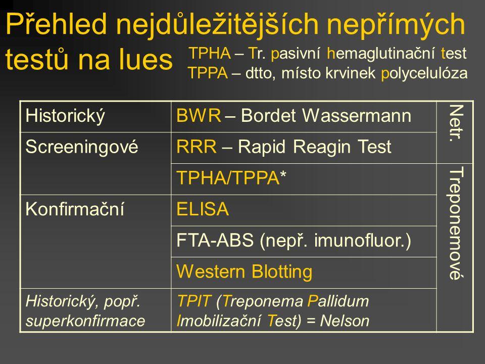 Přehled nejdůležitějších nepřímých testů na lues HistorickýBWR – Bordet Wassermann Netr. ScreeningovéRRR – Rapid Reagin Test TPHA/TPPA* Treponemové Ko