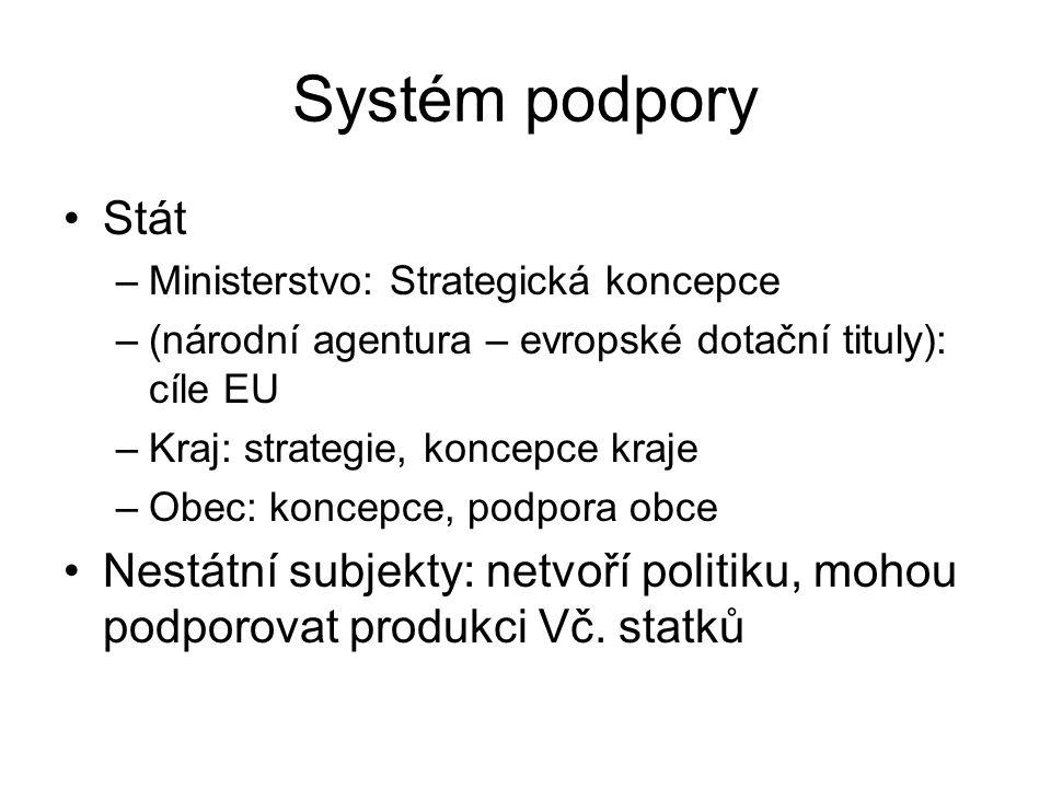 Systém podpory Stát –Ministerstvo: Strategická koncepce –(národní agentura – evropské dotační tituly): cíle EU –Kraj: strategie, koncepce kraje –Obec: