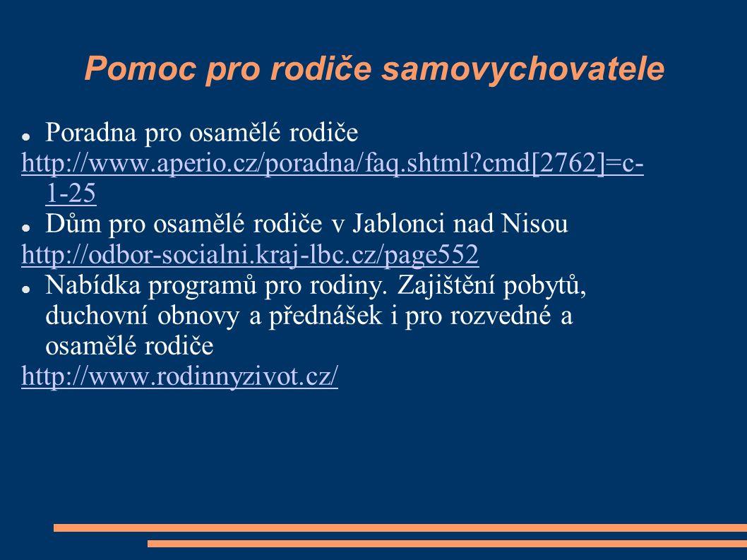 Pomoc pro rodiče samovychovatele Poradna pro osamělé rodiče http://www.aperio.cz/poradna/faq.shtml?cmd[2762]=c- 1-25 Dům pro osamělé rodiče v Jablonci