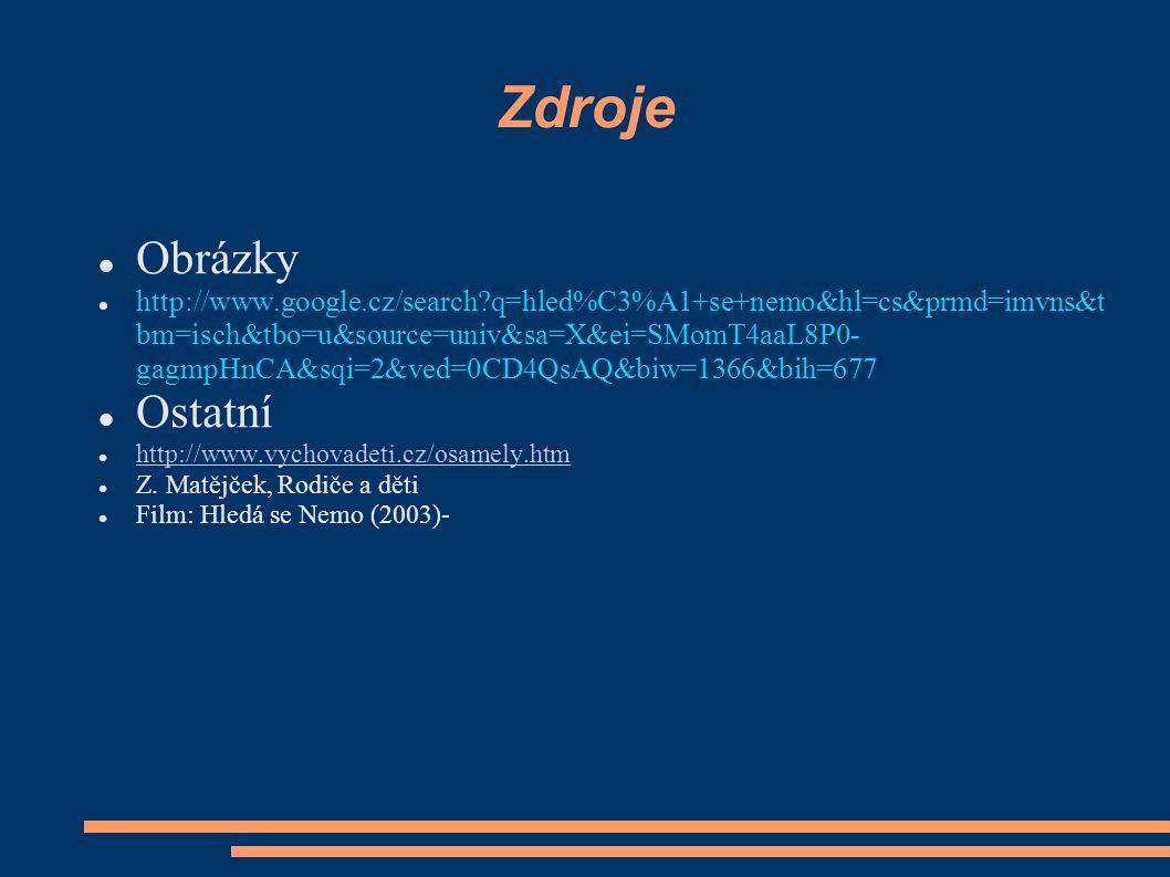 Zdroje Obrázky http://www.google.cz/search?q=hled%C3%A1+se+nemo&hl=cs&prmd=imvns&t bm=isch&tbo=u&source=univ&sa=X&ei=SMomT4aaL8P0- gagmpHnCA&sqi=2&ved