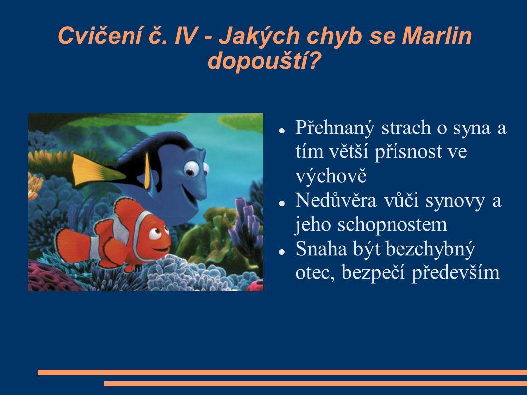 Cvičení č. IV - Jakých chyb se Marlin dopouští? Přehnaný strach o syna a tím větší přísnost ve výchově Nedůvěra vůči synovy a jeho schopnostem Snaha b