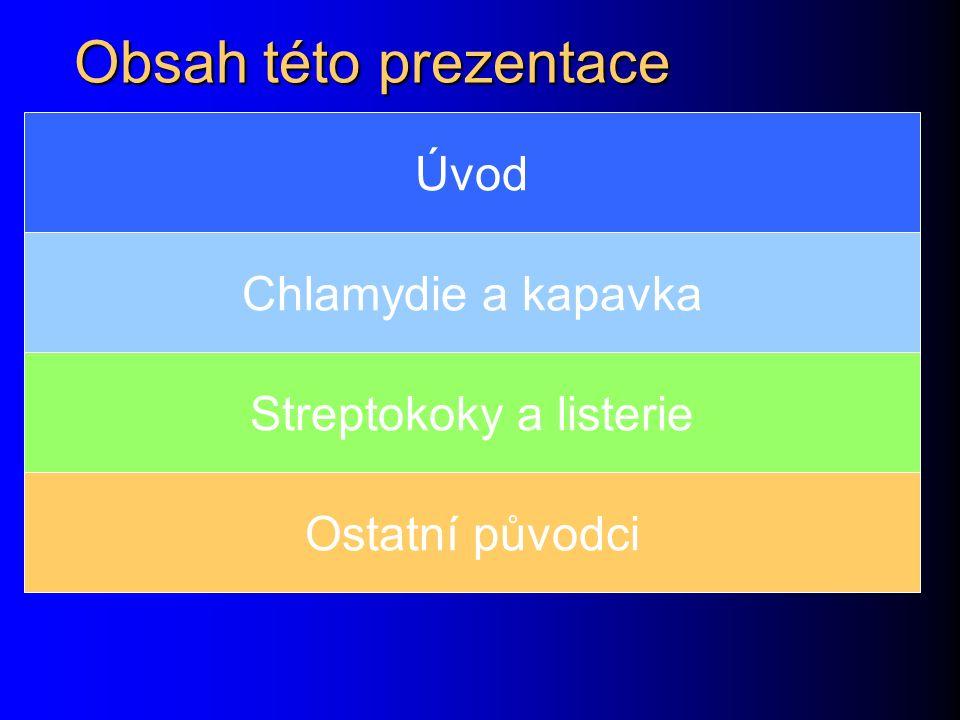 Obsah této prezentace Úvod Chlamydie a kapavka Streptokoky a listerie Ostatní původci