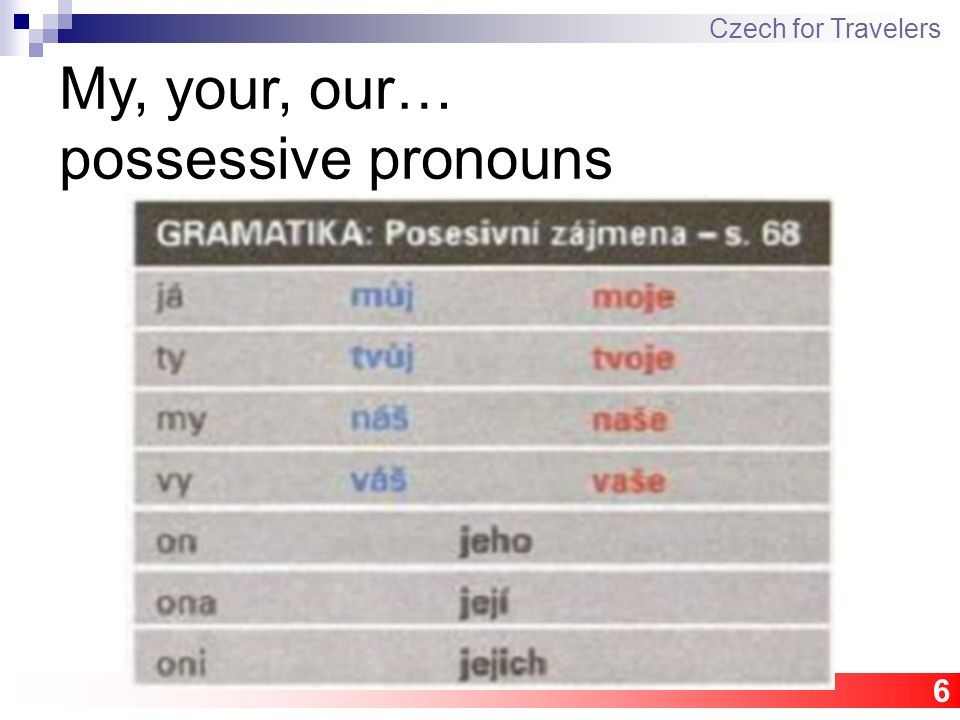 6 Czech for Travelers My, your, our… possessive pronouns