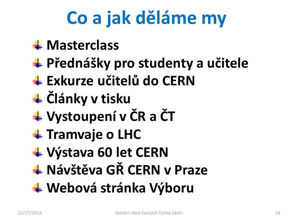Co a jak děláme my Masterclass Přednášky pro studenty a učitele Exkurze učitelů do CERN Články v tisku Vystoupení v ČR a ČT Tramvaje o LHC Výstava 60 let CERN Návštěva GŘ CERN v Praze Webová stránka Výboru 12/17/201424Setkání obce českých fyziků částic