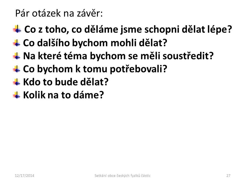 12/17/2014Setkání obce českých fyziků částic27 Co z toho, co děláme jsme schopni dělat lépe.