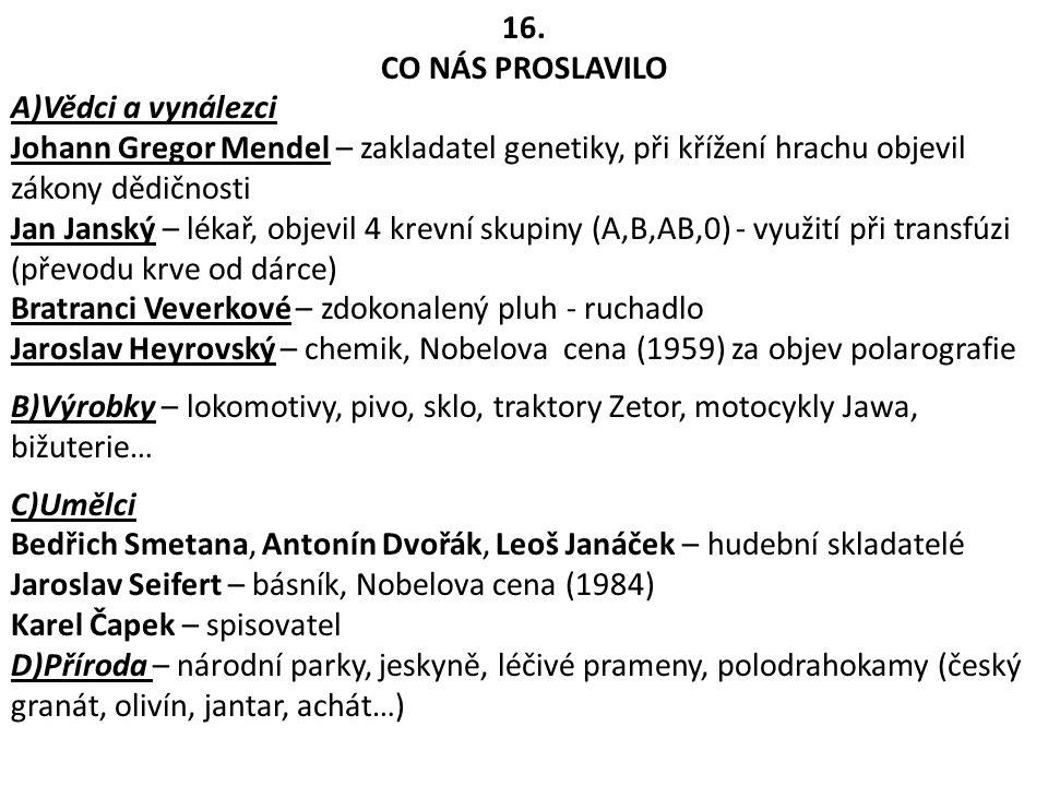 16. CO NÁS PROSLAVILO A)Vědci a vynálezci Johann Gregor Mendel – zakladatel genetiky, při křížení hrachu objevil zákony dědičnosti Jan Janský – lékař,