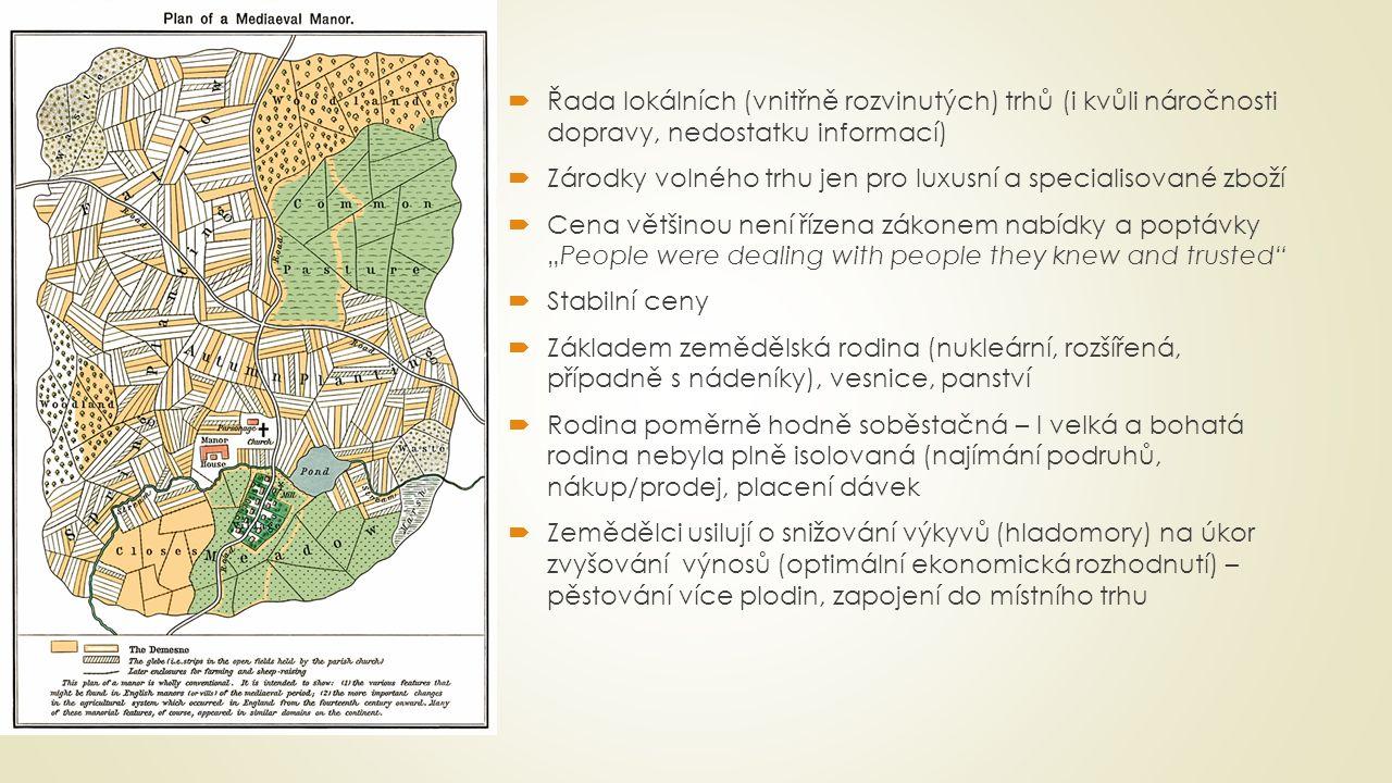  Řada lokálních (vnitřně rozvinutých) trhů (i kvůli náročnosti dopravy, nedostatku informací)  Zárodky volného trhu jen pro luxusní a specialisované