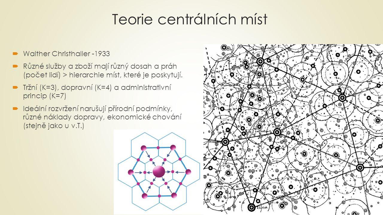 Teorie centrálních míst  Walther Christhaller -1933  Různé služby a zboží mají různý dosah a práh (počet lidí) > hierarchie míst, které je poskytují