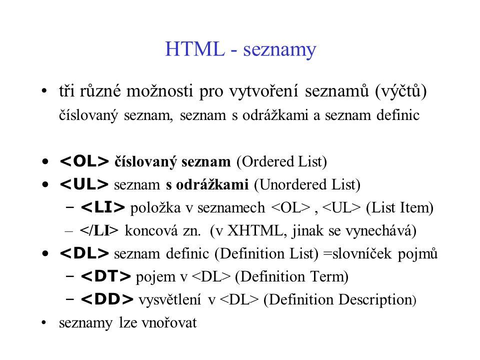 HTML - seznamy tři různé možnosti pro vytvoření seznamů (výčtů) číslovaný seznam, seznam s odrážkami a seznam definic číslovaný seznam (Ordered List)