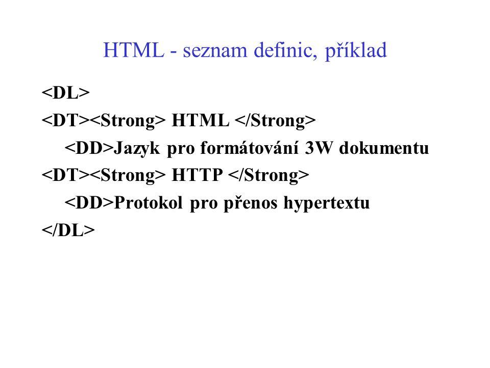 HTML - seznam definic, příklad HTML Jazyk pro formátování 3W dokumentu HTTP Protokol pro přenos hypertextu