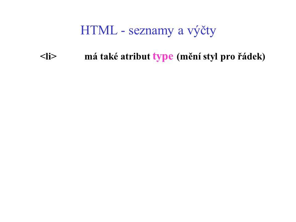 HTML - seznamy a výčty má také atribut type (mění styl pro řádek)