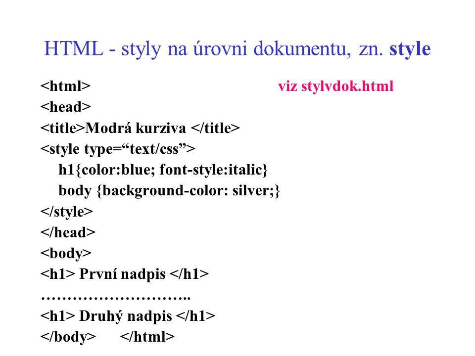 HTML - styly na úrovni dokumentu, zn. style viz stylvdok.html Modrá kurziva h1{color:blue; font-style:italic} body {background-color: silver;} První n