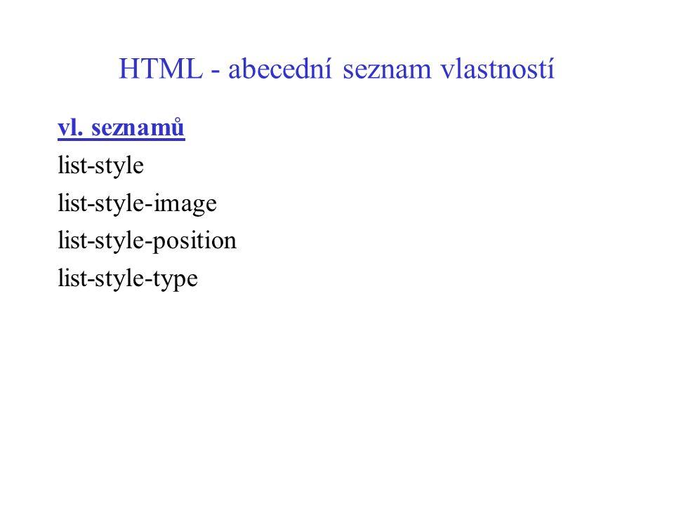 HTML - abecední seznam vlastností vl. seznamů list-style list-style-image list-style-position list-style-type