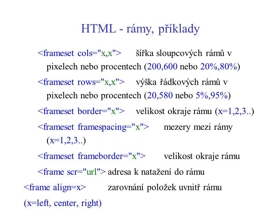 HTML - rámy, příklady šířka sloupcových rámů v pixelech nebo procentech (200,600 nebo 20%,80%) výška řádkových rámů v pixelech nebo procentech (20,580