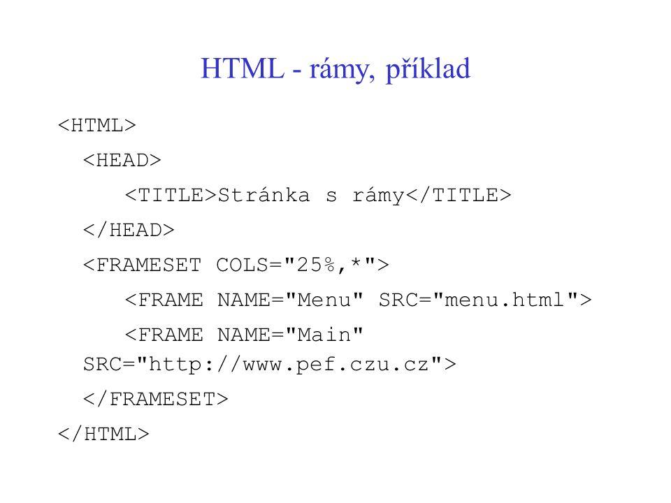HTML - rámy, příklad Stránka s rámy