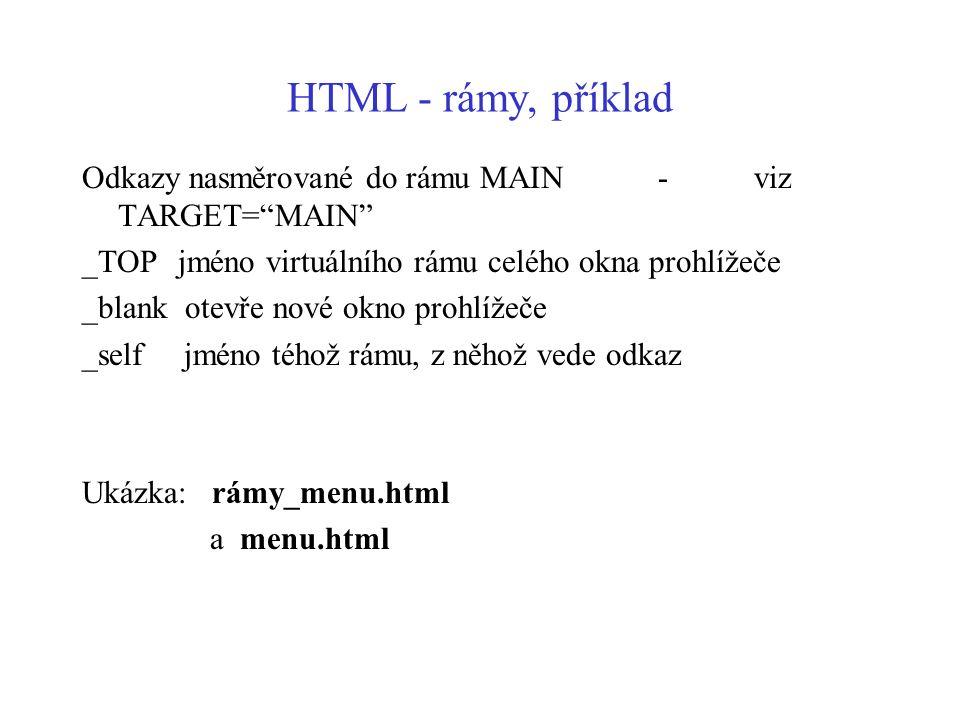 """HTML - rámy, příklad Odkazy nasměrované do rámu MAIN-viz TARGET=""""MAIN"""" _TOPjméno virtuálního rámu celého okna prohlížeče _blank otevře nové okno prohl"""