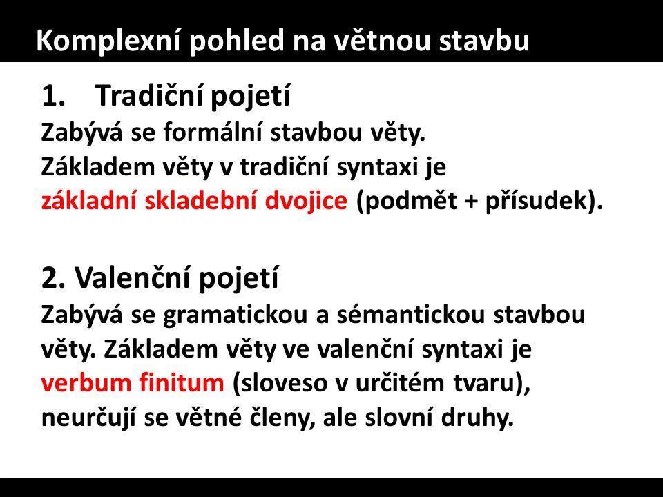 Komplexní pohled na větnou stavbu 1.Tradiční pojetí Zabývá se formální stavbou věty. Základem věty v tradiční syntaxi je základní skladební dvojice (p