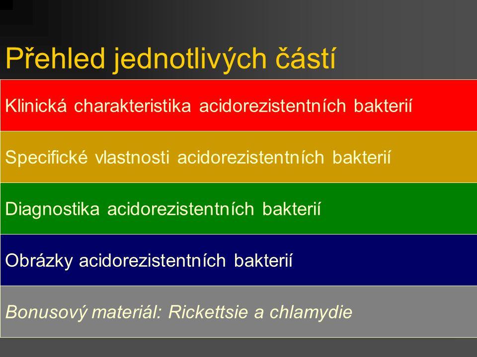 Přehled jednotlivých částí Klinická charakteristika acidorezistentních bakterií Specifické vlastnosti acidorezistentních bakterií Diagnostika acidorez