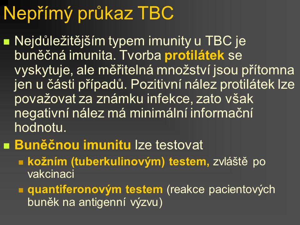 Nepřímý průkaz TBC Nejdůležitějším typem imunity u TBC je buněčná imunita. Tvorba protilátek se vyskytuje, ale měřitelná množství jsou přítomna jen u